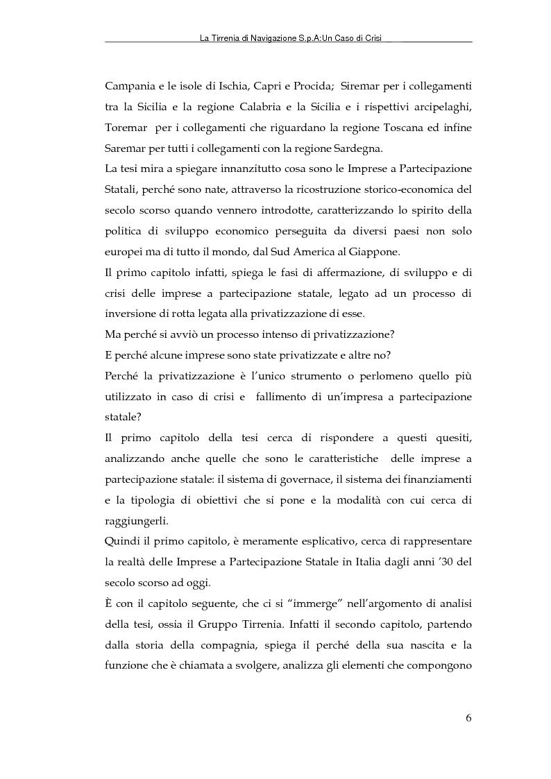 Anteprima della tesi: La Tirrenia di Navigazione S.p.A. : un caso di crisi, Pagina 4