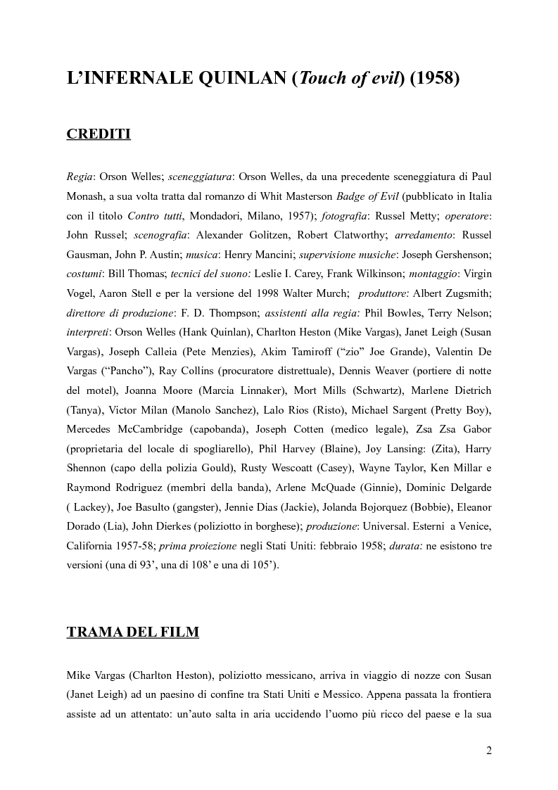 Anteprima della tesi: Touches of Evil: due versioni a confronto de L'Infernale Quinlan di Orson Welles, Pagina 2