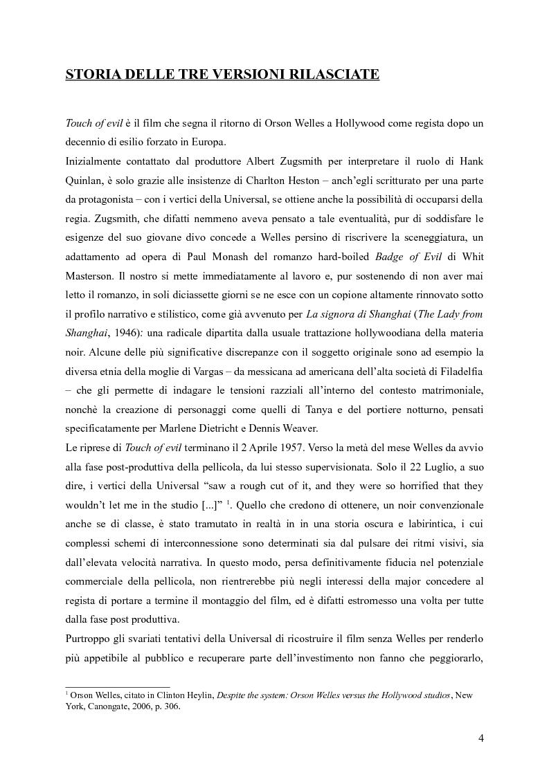 Anteprima della tesi: Touches of Evil: due versioni a confronto de L'Infernale Quinlan di Orson Welles, Pagina 4