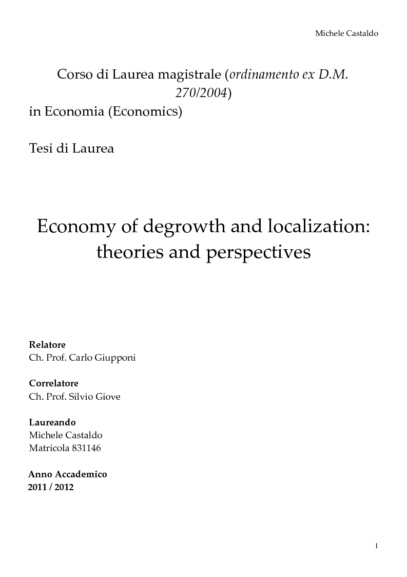 Anteprima della tesi: Economy of Degrowth: Theories and Perspectives, Pagina 1