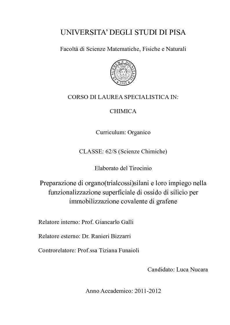 Anteprima della tesi: Preparazione di organo(trialcossi)silani e loro impiego nella funzionalizzazione superficiale di ossido di silicio per immobilizzazione covalente di grafene, Pagina 1