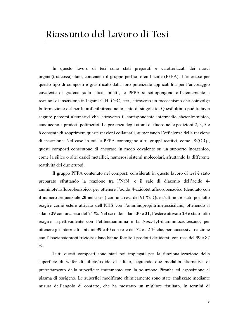 Anteprima della tesi: Preparazione di organo(trialcossi)silani e loro impiego nella funzionalizzazione superficiale di ossido di silicio per immobilizzazione covalente di grafene, Pagina 2