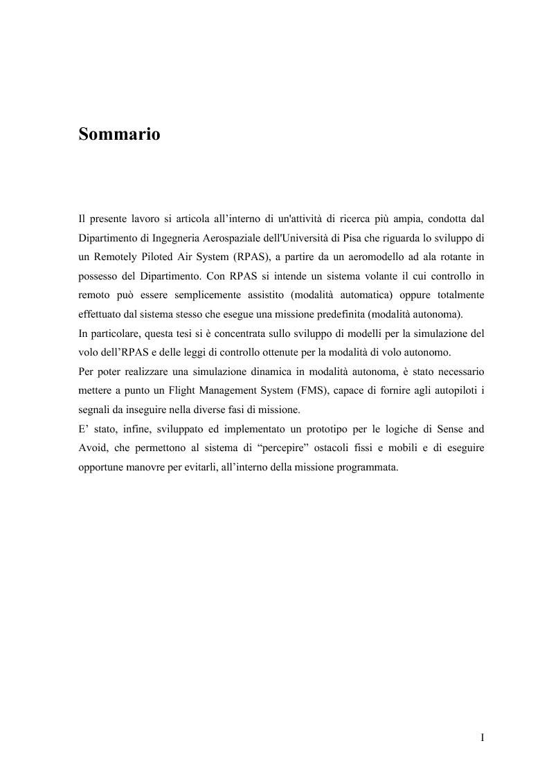 Anteprima della tesi: Modelli di simulazione dinamica, leggi di controllo e strategie di Sense and Avoid per un Remotely Piloted Air System (RPAS), Pagina 2