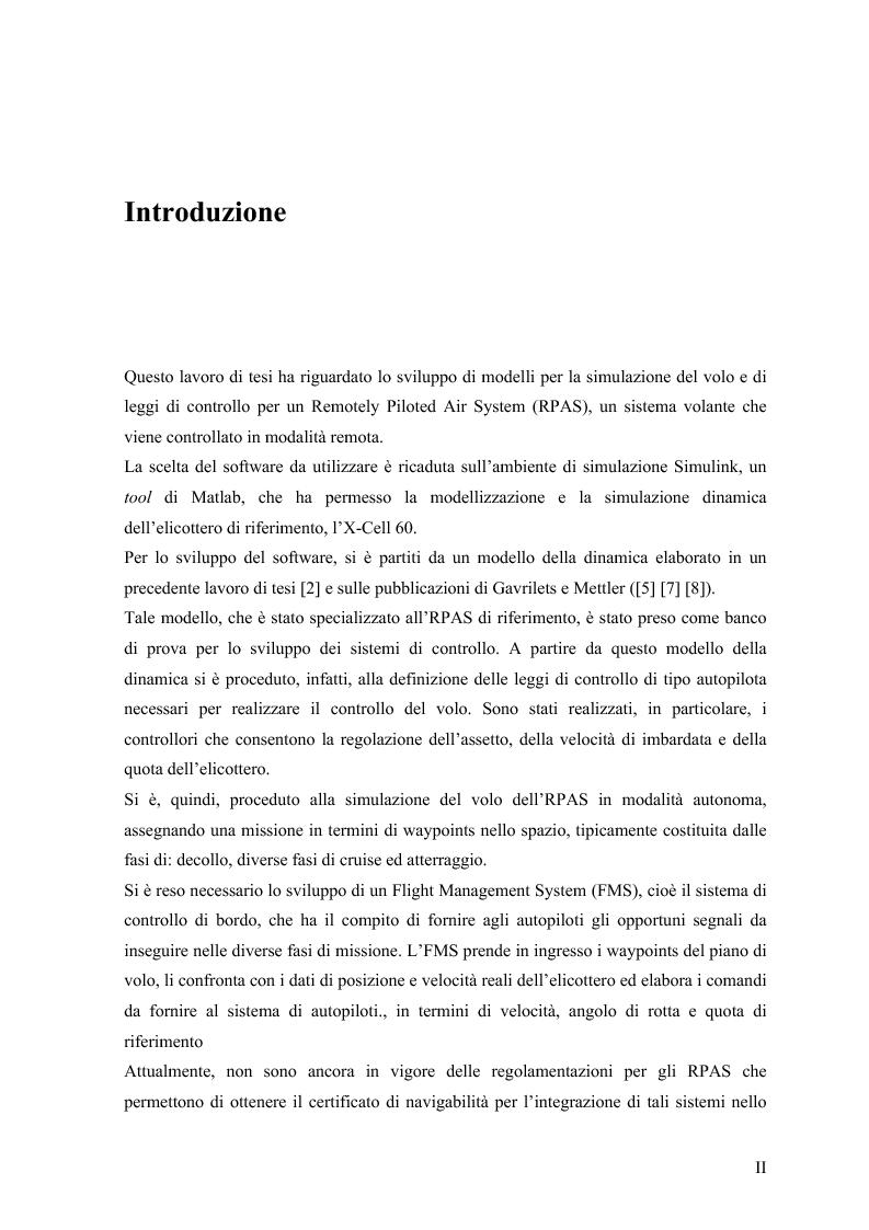 Anteprima della tesi: Modelli di simulazione dinamica, leggi di controllo e strategie di Sense and Avoid per un Remotely Piloted Air System (RPAS), Pagina 3