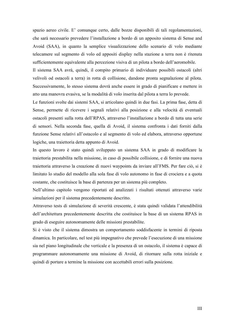 Anteprima della tesi: Modelli di simulazione dinamica, leggi di controllo e strategie di Sense and Avoid per un Remotely Piloted Air System (RPAS), Pagina 4