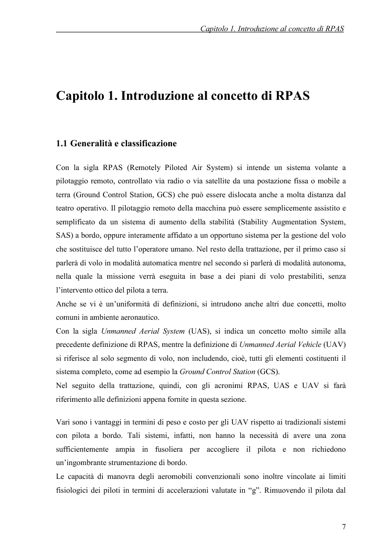 Anteprima della tesi: Modelli di simulazione dinamica, leggi di controllo e strategie di Sense and Avoid per un Remotely Piloted Air System (RPAS), Pagina 5