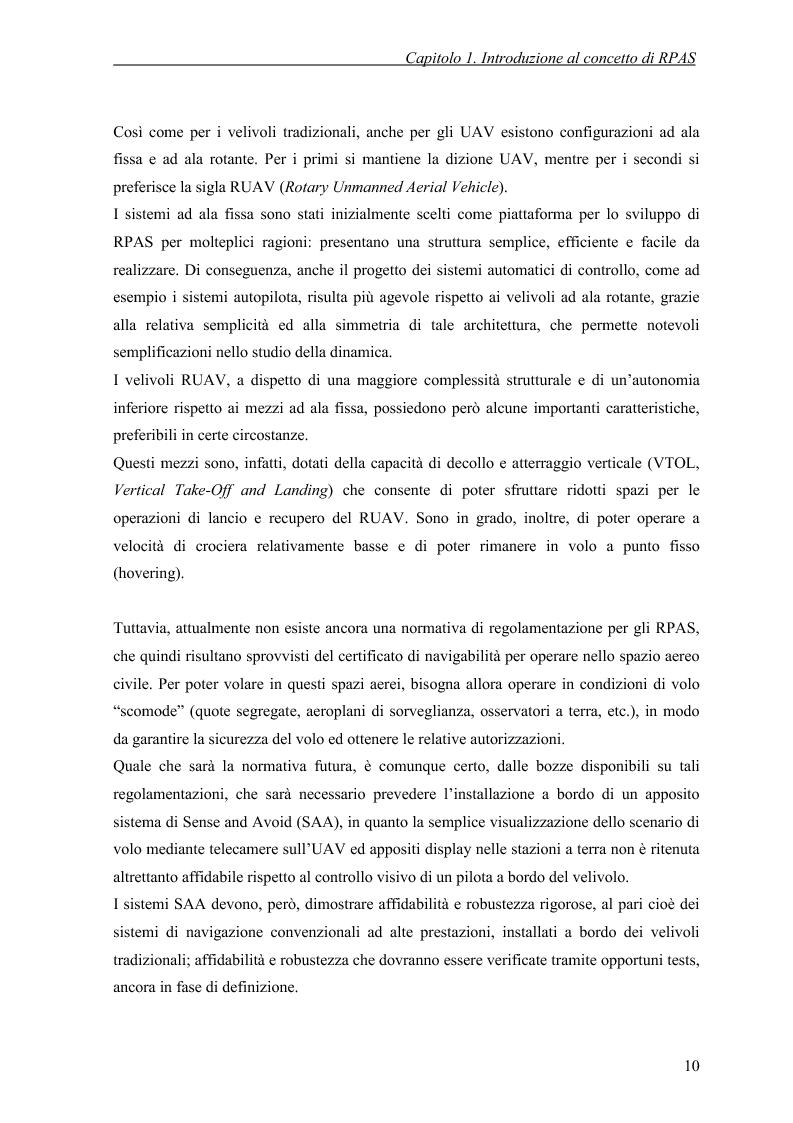 Anteprima della tesi: Modelli di simulazione dinamica, leggi di controllo e strategie di Sense and Avoid per un Remotely Piloted Air System (RPAS), Pagina 8