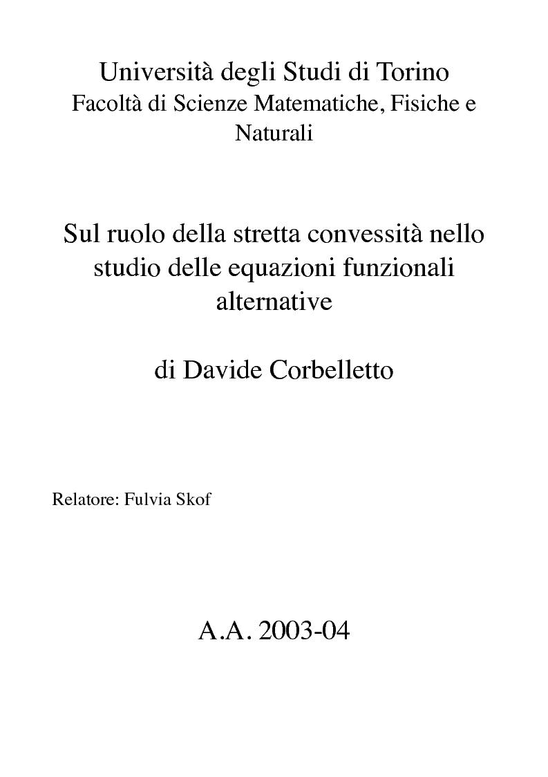 Anteprima della tesi: Sul ruolo della stretta convessità nello studio delle equazioni funzionali alternative, Pagina 1
