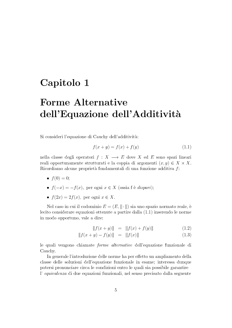 Anteprima della tesi: Sul ruolo della stretta convessità nello studio delle equazioni funzionali alternative, Pagina 4