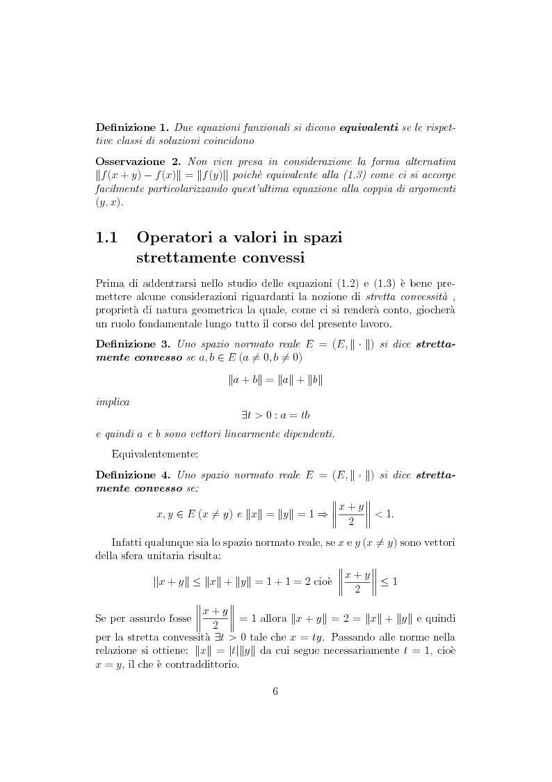 Anteprima della tesi: Sul ruolo della stretta convessità nello studio delle equazioni funzionali alternative, Pagina 5