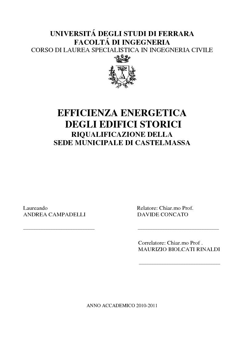 Anteprima della tesi: Efficienza Energetica degli edifici storici - Riqualificazione Della sede municipale di Castelmassa, Pagina 1