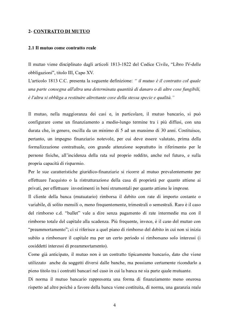 Anteprima della tesi: Il contratto di mutuo - tipologie negoziali, Pagina 2