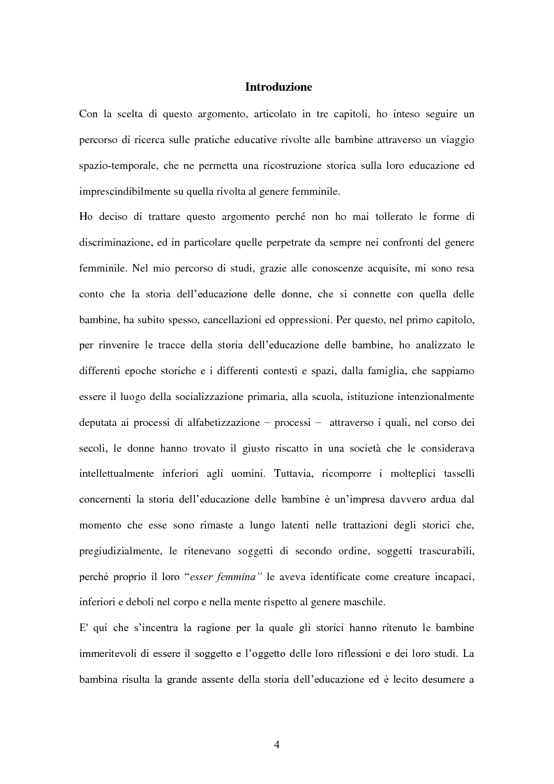 Anteprima della tesi: ''Educate al Silenzio''. Sguardo storico-pedagogico sull'educazione delle bambine per la promozione di una cultura delle pari opportunità, Pagina 2