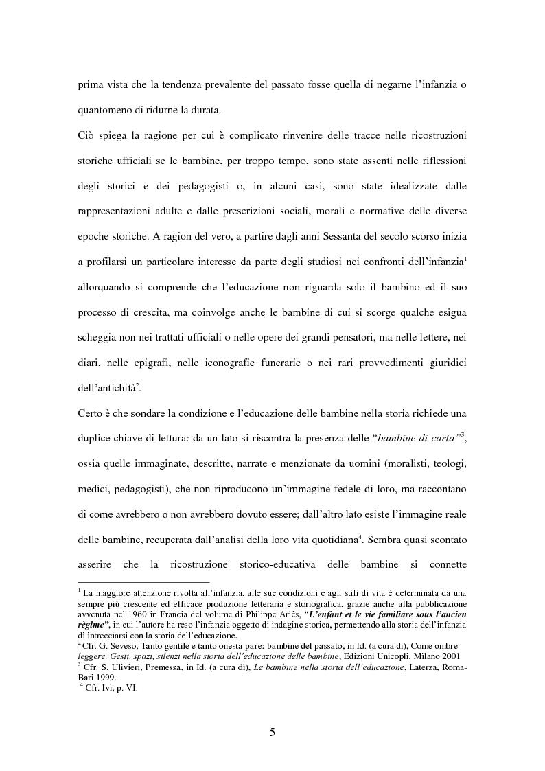 Anteprima della tesi: ''Educate al Silenzio''. Sguardo storico-pedagogico sull'educazione delle bambine per la promozione di una cultura delle pari opportunità, Pagina 3