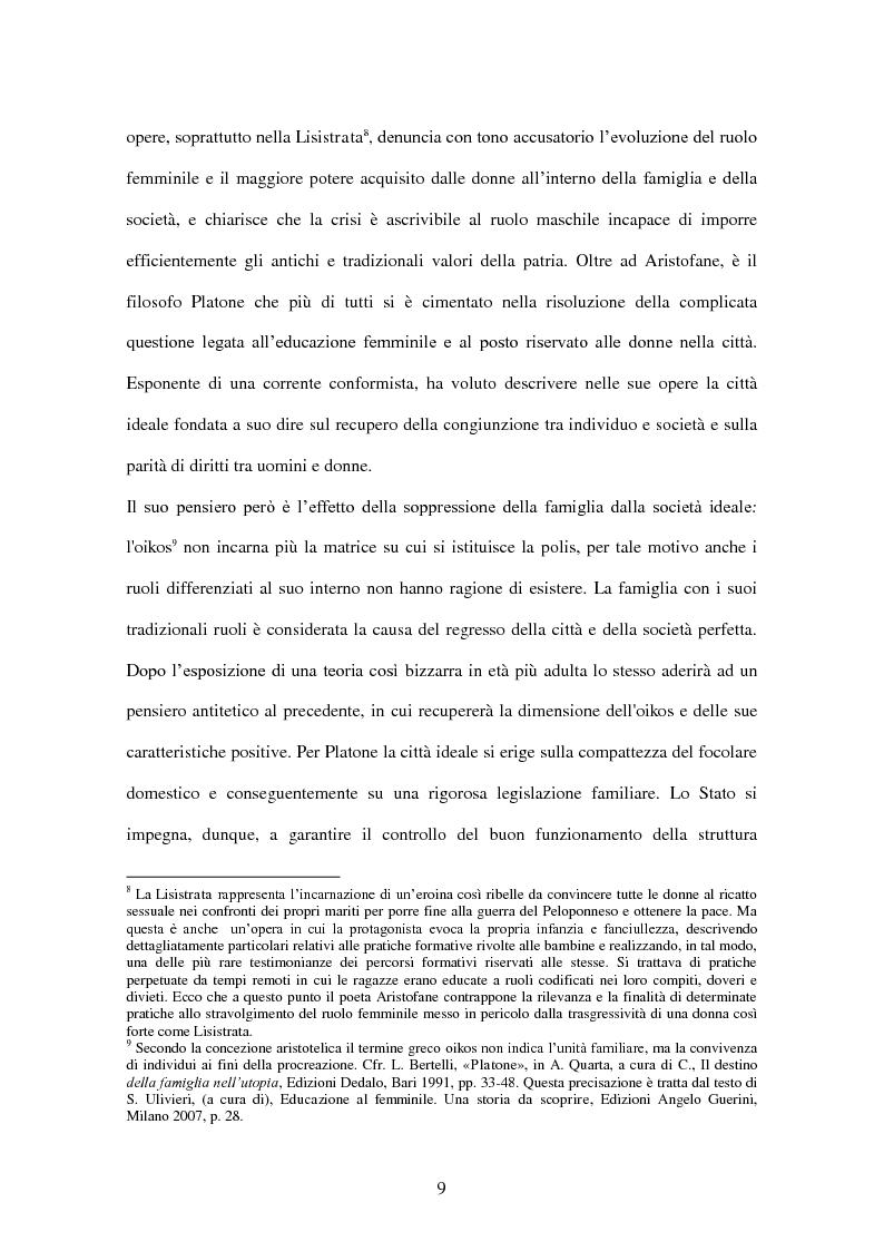 Anteprima della tesi: ''Educate al Silenzio''. Sguardo storico-pedagogico sull'educazione delle bambine per la promozione di una cultura delle pari opportunità, Pagina 7