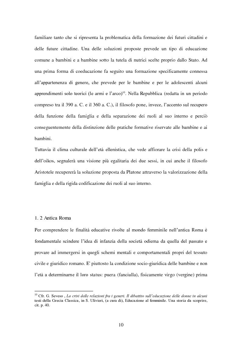 Anteprima della tesi: ''Educate al Silenzio''. Sguardo storico-pedagogico sull'educazione delle bambine per la promozione di una cultura delle pari opportunità, Pagina 8