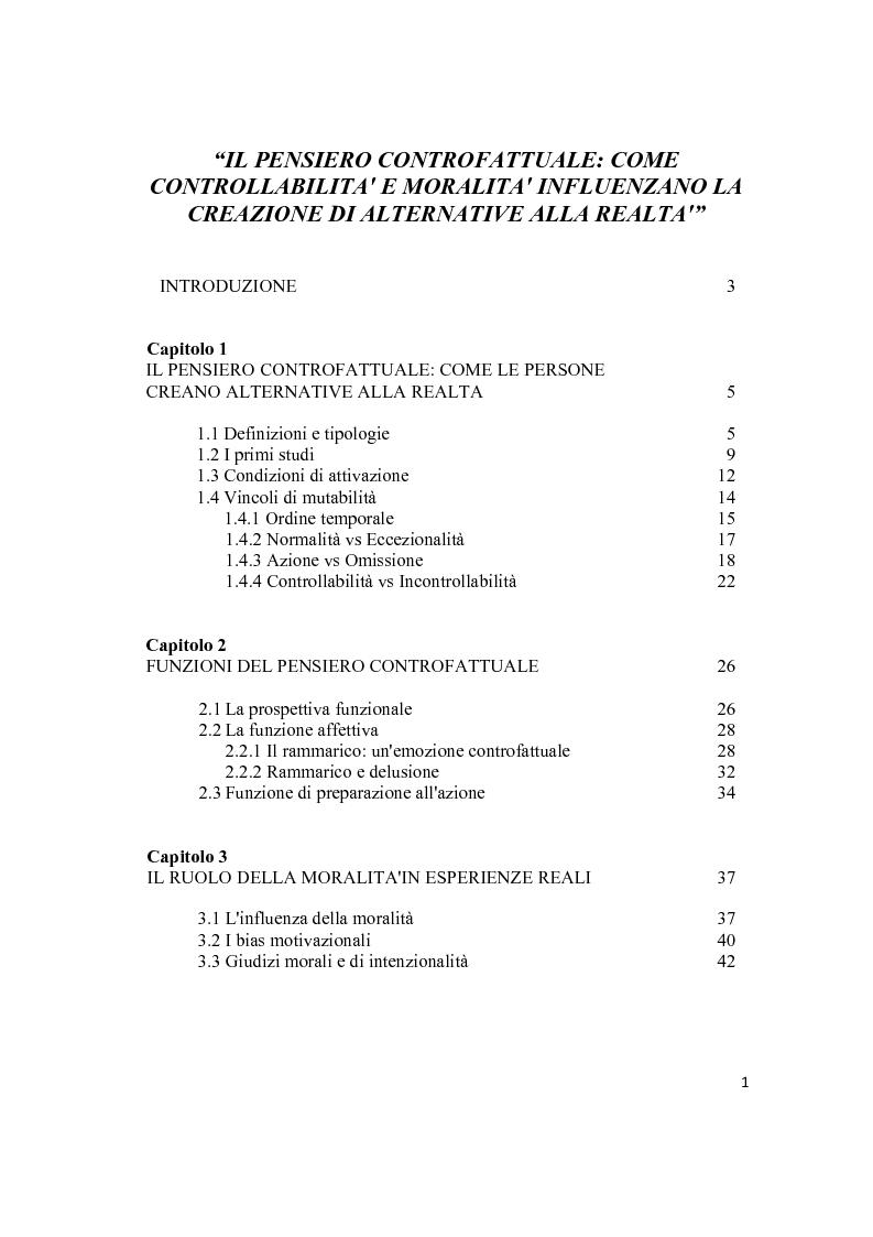 Indice della tesi: Il pensiero controfattuale: come controllabilità e moralità influenzano la creazione di alternative alla realtà, Pagina 1