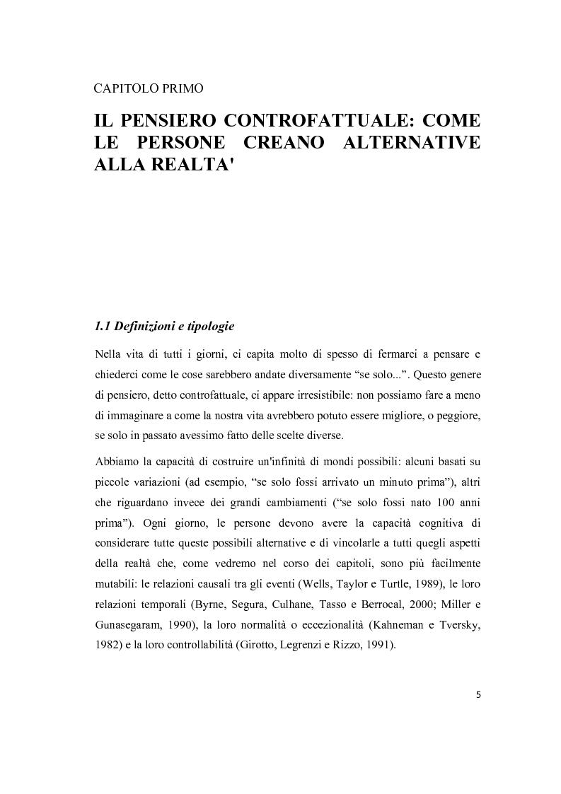 Anteprima della tesi: Il pensiero controfattuale: come controllabilità e moralità influenzano la creazione di alternative alla realtà, Pagina 4