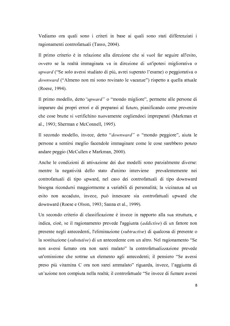Anteprima della tesi: Il pensiero controfattuale: come controllabilità e moralità influenzano la creazione di alternative alla realtà, Pagina 7