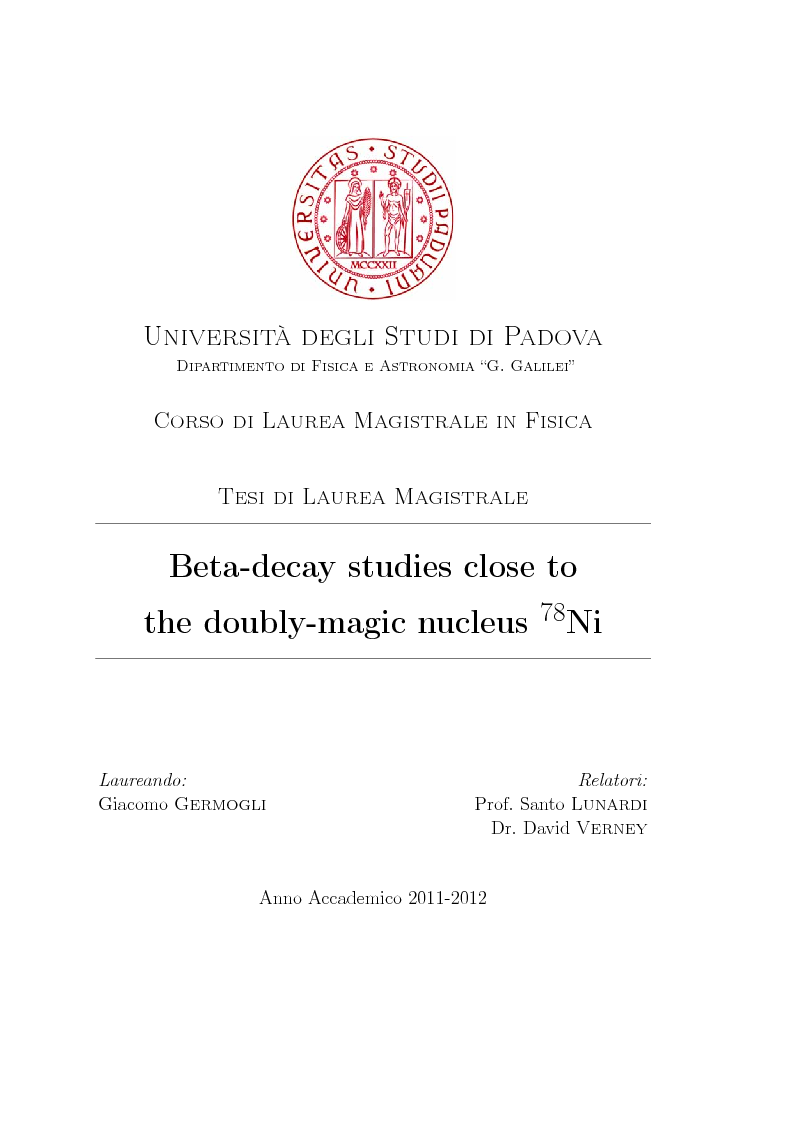 Anteprima della tesi: Beta decay studies close to the doubly-magic nucleus 78Ni, Pagina 1