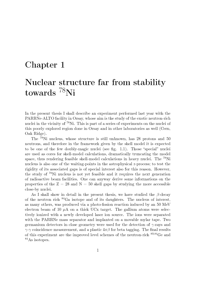 Anteprima della tesi: Beta decay studies close to the doubly-magic nucleus 78Ni, Pagina 2