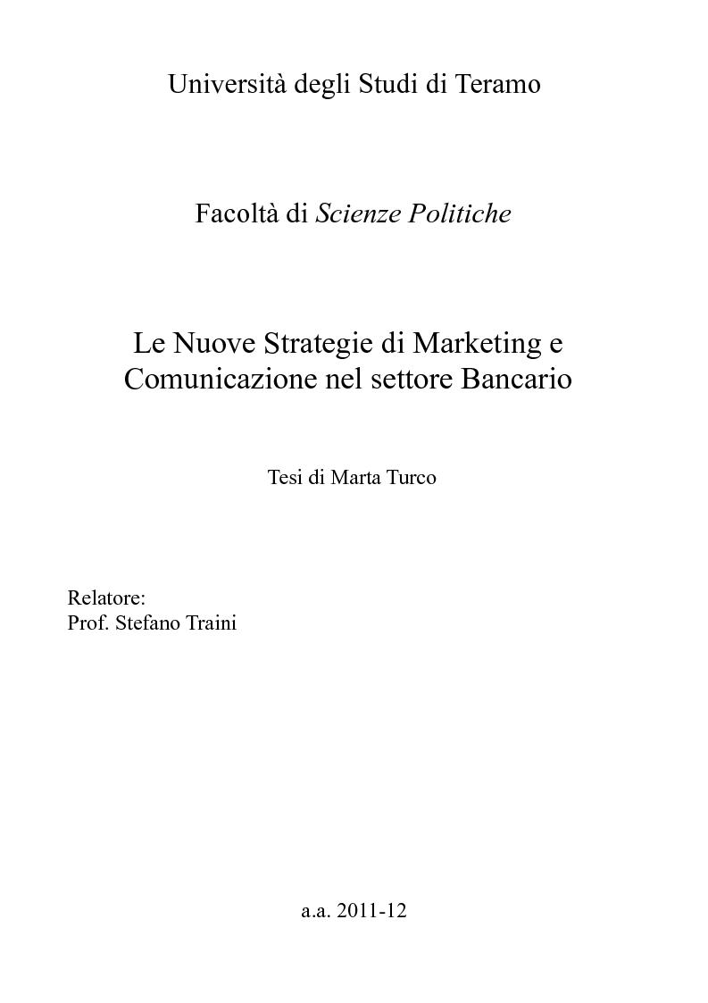 Anteprima della tesi: Le Nuove Strategie di Marketing e Comunicazione nel settore Bancario, Pagina 1