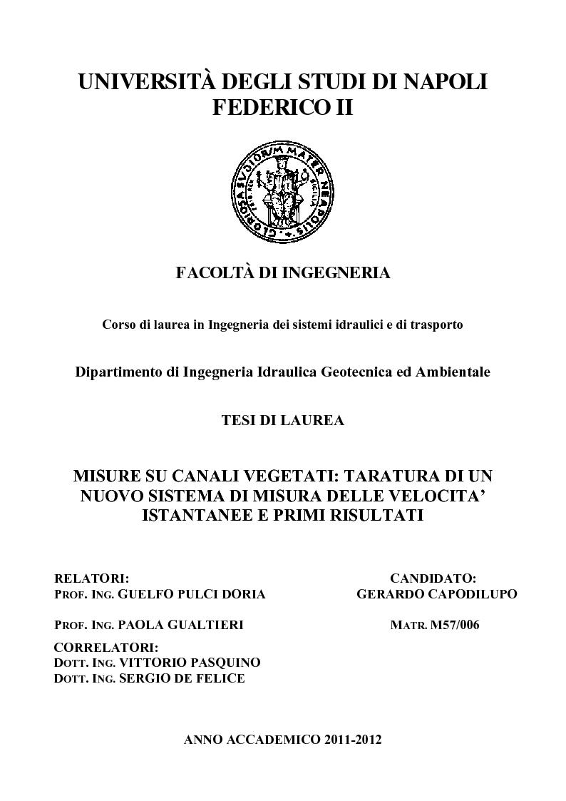 Anteprima della tesi: Misure su canali vegetati: taratura di un nuovo sistema di misura delle velocità istantanee e primi risultati, Pagina 1