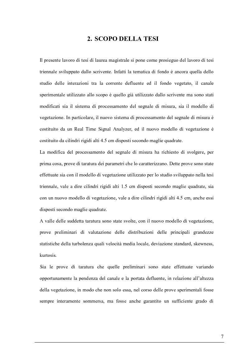 Anteprima della tesi: Misure su canali vegetati: taratura di un nuovo sistema di misura delle velocità istantanee e primi risultati, Pagina 6