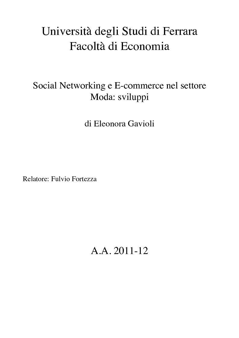 Anteprima della tesi: Social Networking e E-commerce nel settore Moda: sviluppi, Pagina 1