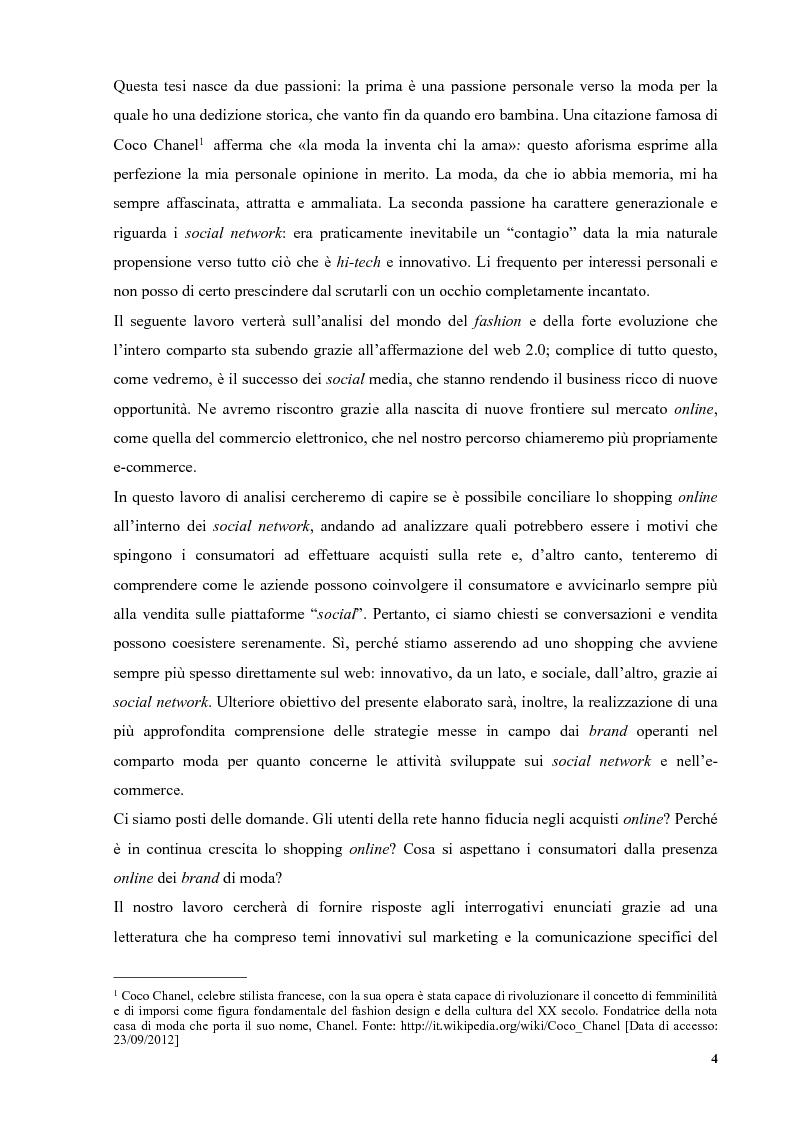 Anteprima della tesi: Social Networking e E-commerce nel settore Moda: sviluppi, Pagina 3