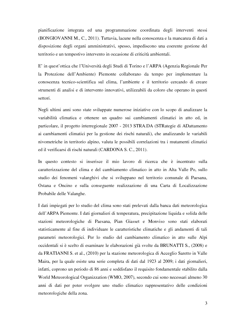 Anteprima della tesi: Caratterizzazione climatica e analisi del fenomeno valanghivo in Alta Valle Po attraverso la realizzazione della Carta di Localizzazione Probabile delle Valanghe, Pagina 4