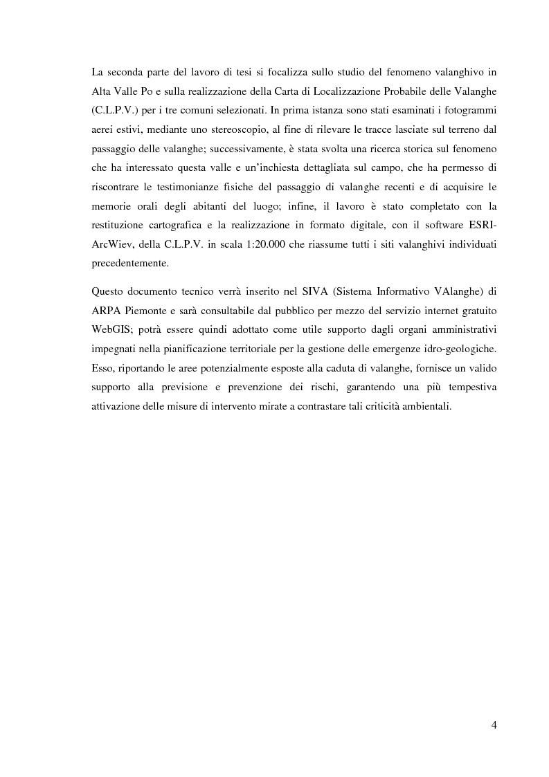 Anteprima della tesi: Caratterizzazione climatica e analisi del fenomeno valanghivo in Alta Valle Po attraverso la realizzazione della Carta di Localizzazione Probabile delle Valanghe, Pagina 5