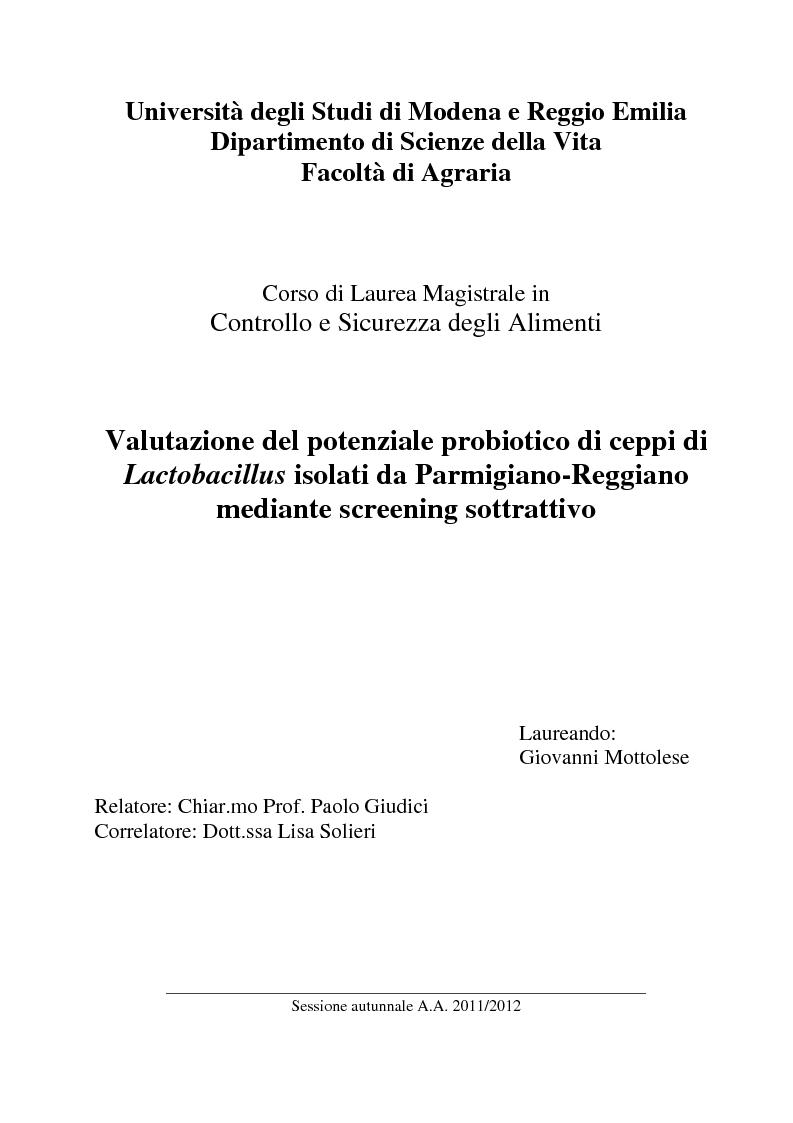Anteprima della tesi: Valutazione del potenziale probiotico di ceppi di Lactobacillus isolati da Parmigiano-reggiano mediante screening sottrattivo, Pagina 1