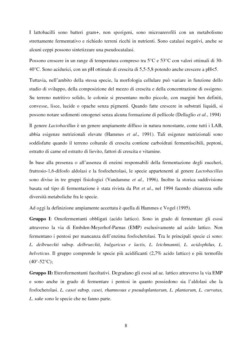Anteprima della tesi: Valutazione del potenziale probiotico di ceppi di Lactobacillus isolati da Parmigiano-reggiano mediante screening sottrattivo, Pagina 9