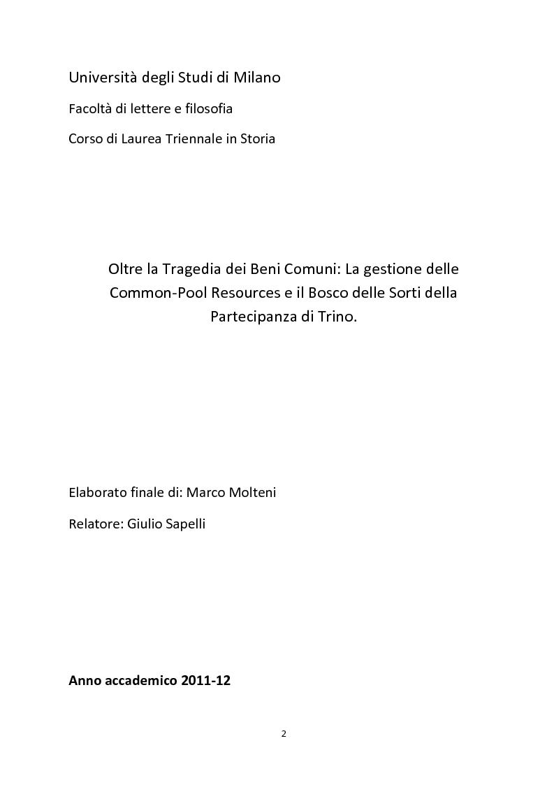 Anteprima della tesi: Oltre la Tragedia dei Beni Comuni: La gestione delle Common-Pool Resources e il Bosco delle Sorti della Partecipanza di Trino, Pagina 1
