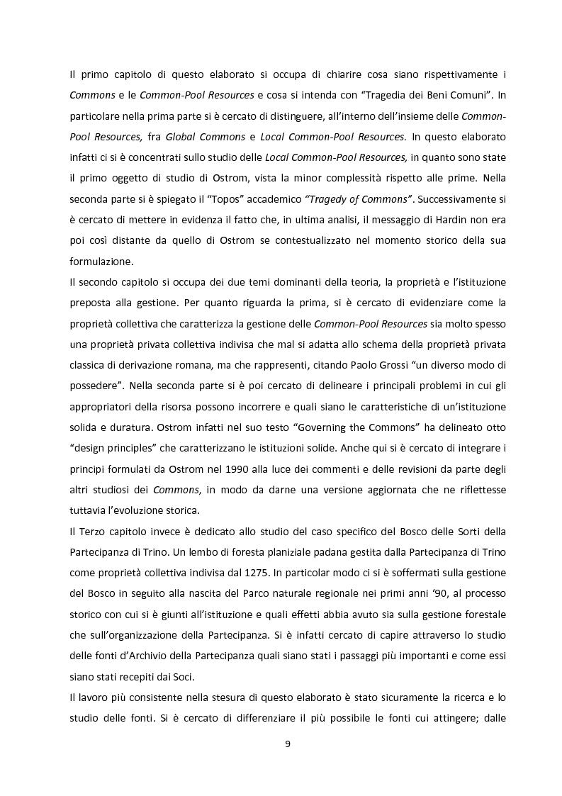 Anteprima della tesi: Oltre la Tragedia dei Beni Comuni: La gestione delle Common-Pool Resources e il Bosco delle Sorti della Partecipanza di Trino, Pagina 6