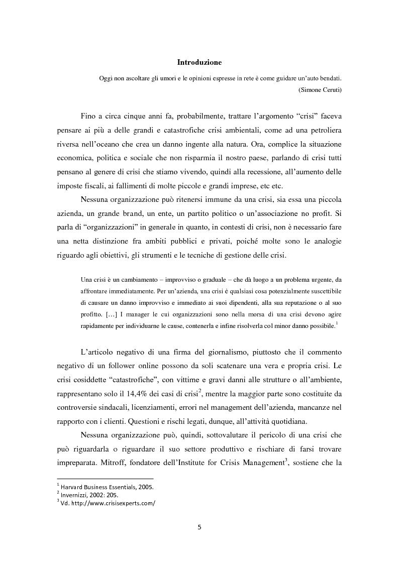 Anteprima della tesi: Prevedere per prevenire. Crisis Management: l'importanza delle fasi di ascolto e monitoraggio e il ruolo del web, Pagina 2