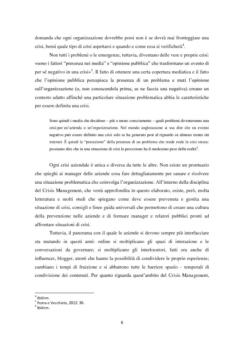 Anteprima della tesi: Prevedere per prevenire. Crisis Management: l'importanza delle fasi di ascolto e monitoraggio e il ruolo del web, Pagina 3