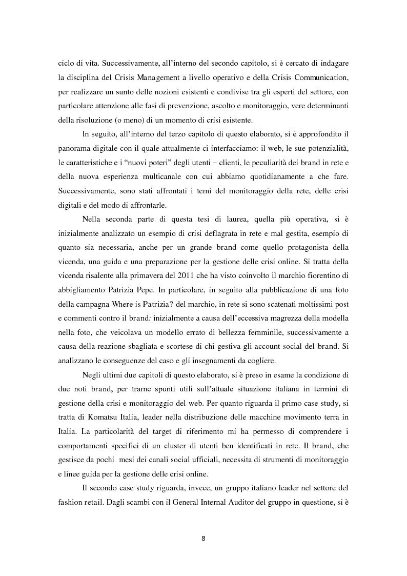 Anteprima della tesi: Prevedere per prevenire. Crisis Management: l'importanza delle fasi di ascolto e monitoraggio e il ruolo del web, Pagina 5