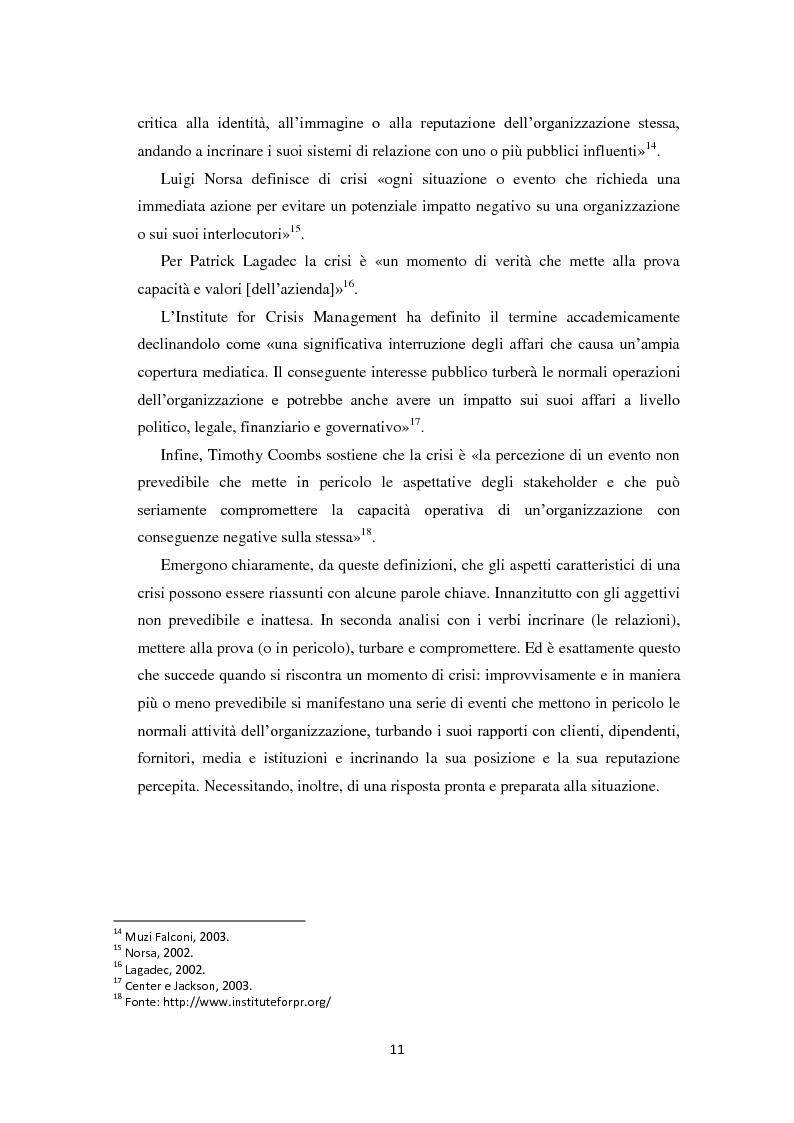 Anteprima della tesi: Prevedere per prevenire. Crisis Management: l'importanza delle fasi di ascolto e monitoraggio e il ruolo del web, Pagina 8