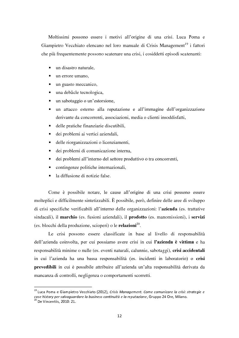 Anteprima della tesi: Prevedere per prevenire. Crisis Management: l'importanza delle fasi di ascolto e monitoraggio e il ruolo del web, Pagina 9