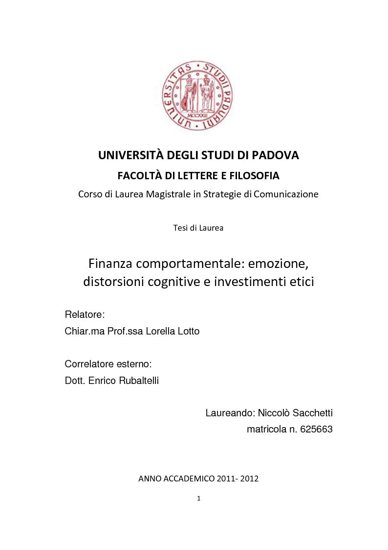 Anteprima della tesi: Finanza comportamentale: emozione, distorsioni cognitive e investimenti etici, Pagina 1