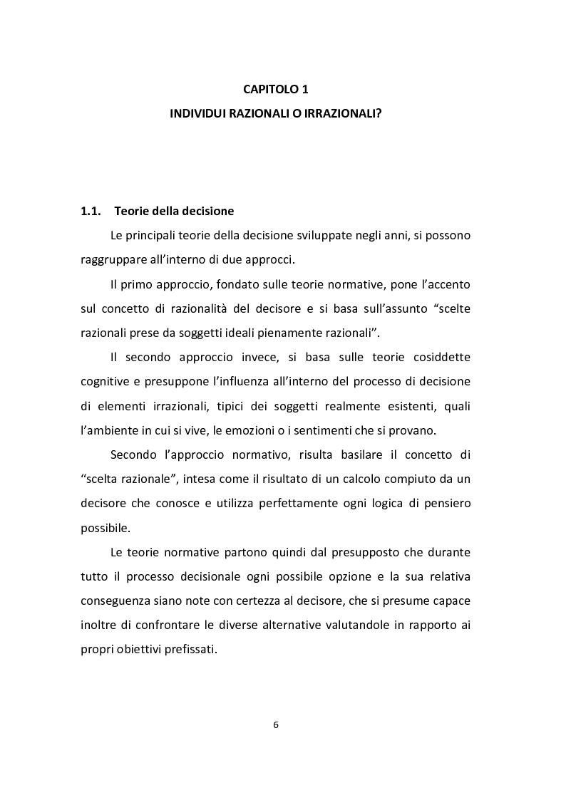 Anteprima della tesi: Finanza comportamentale: emozione, distorsioni cognitive e investimenti etici, Pagina 4