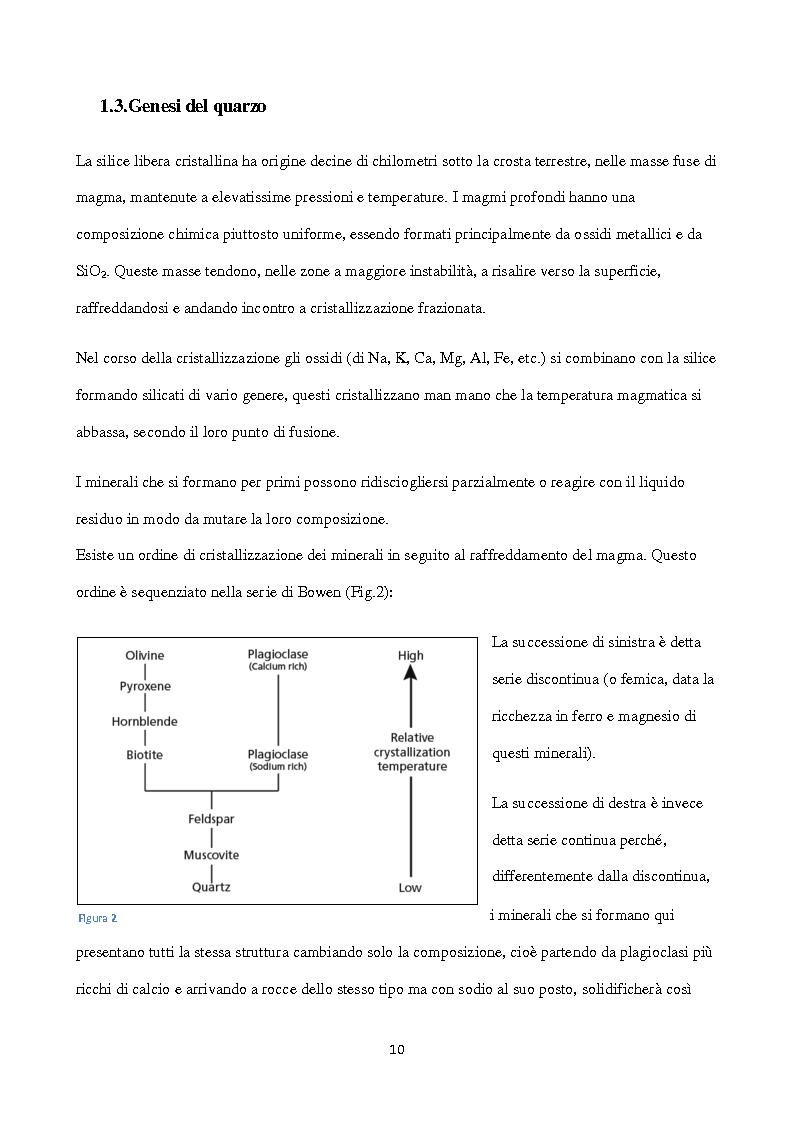 Anteprima della tesi: Esposizione a silice cristallina in ambiente lavorativo. Influenza dei sistemi di campionamento e analisi sulla valutazione dell'esposizione professionale e del rispetto dei l imiti massimi consentiti., Pagina 5