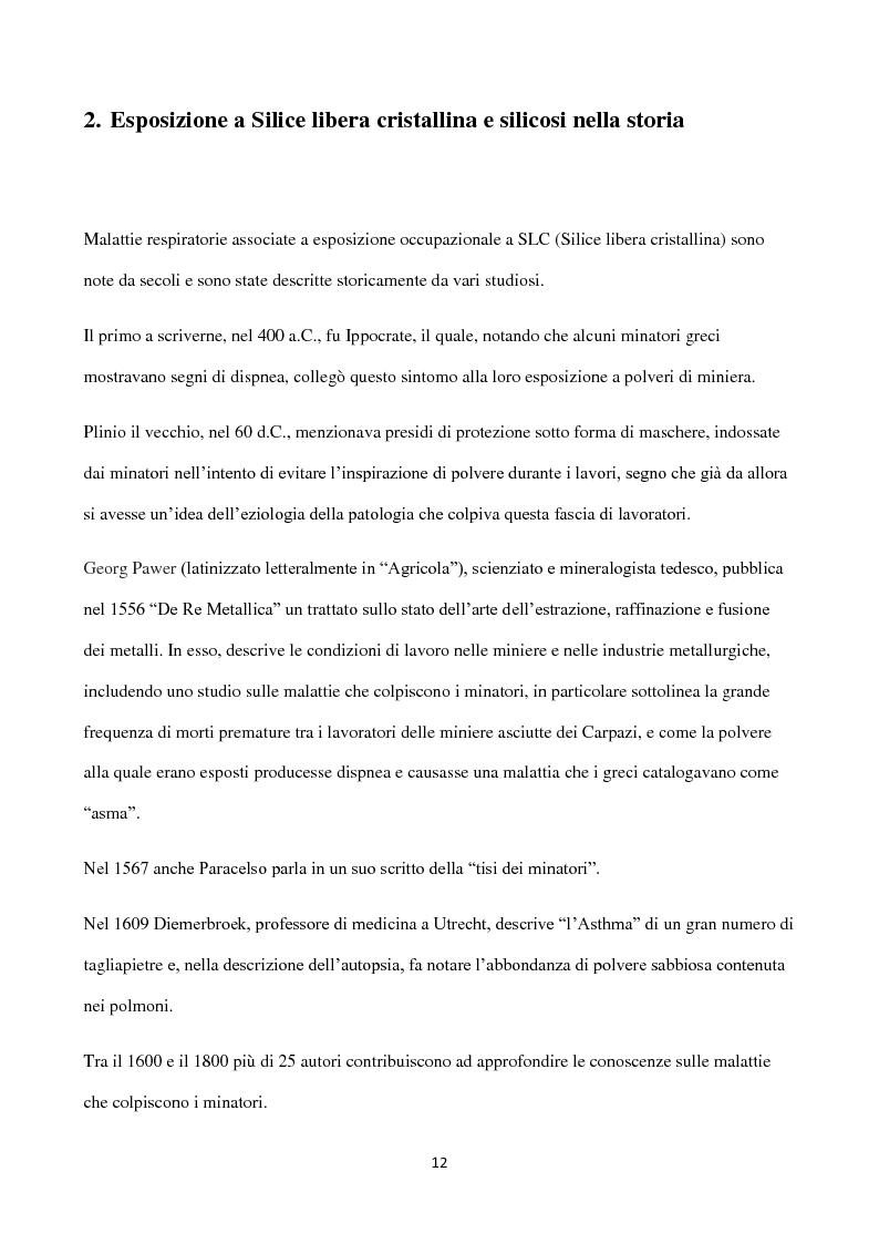Anteprima della tesi: Esposizione a silice cristallina in ambiente lavorativo. Influenza dei sistemi di campionamento e analisi sulla valutazione dell'esposizione professionale e del rispetto dei l imiti massimi consentiti., Pagina 7
