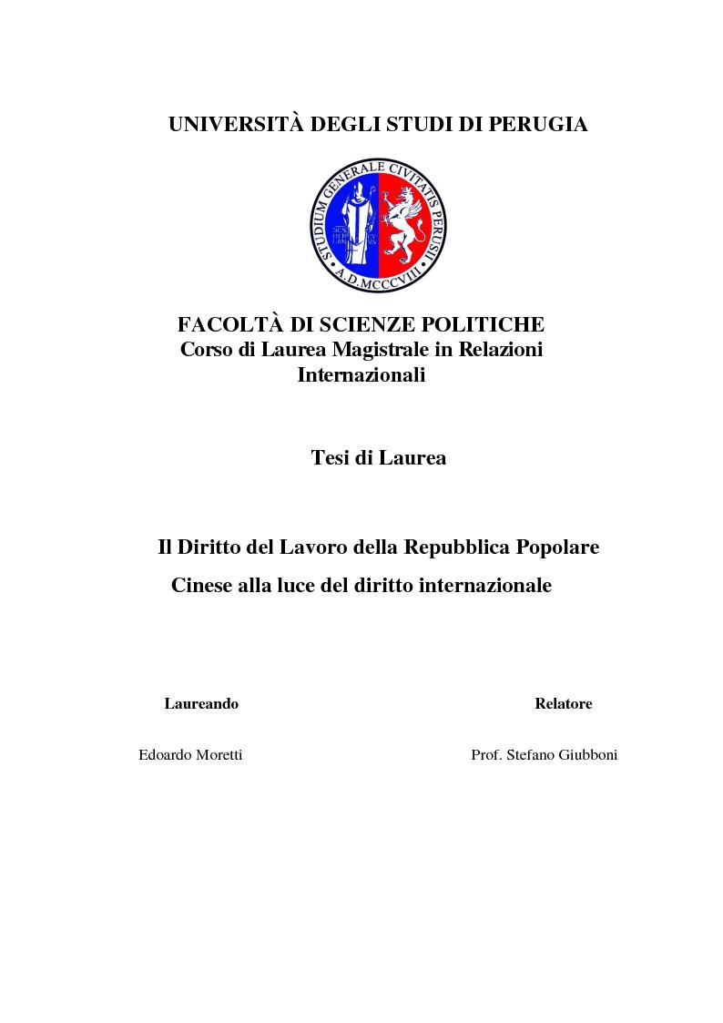 Anteprima della tesi: Il Diritto del Lavoro della Repubblica Popolare Cinese alla luce del diritto internazionale, Pagina 1