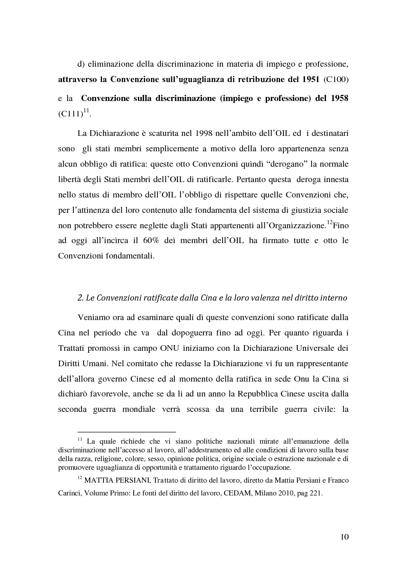 Anteprima della tesi: Il Diritto del Lavoro della Repubblica Popolare Cinese alla luce del diritto internazionale, Pagina 8