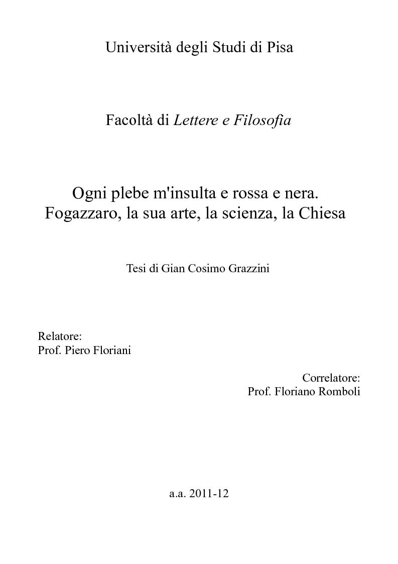Anteprima della tesi: Ogni plebe m'insulta e rossa e nera - Fogazzaro, la sua arte, la scienza, la Chiesa, Pagina 1