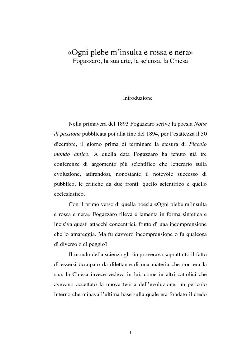 Anteprima della tesi: Ogni plebe m'insulta e rossa e nera - Fogazzaro, la sua arte, la scienza, la Chiesa, Pagina 2