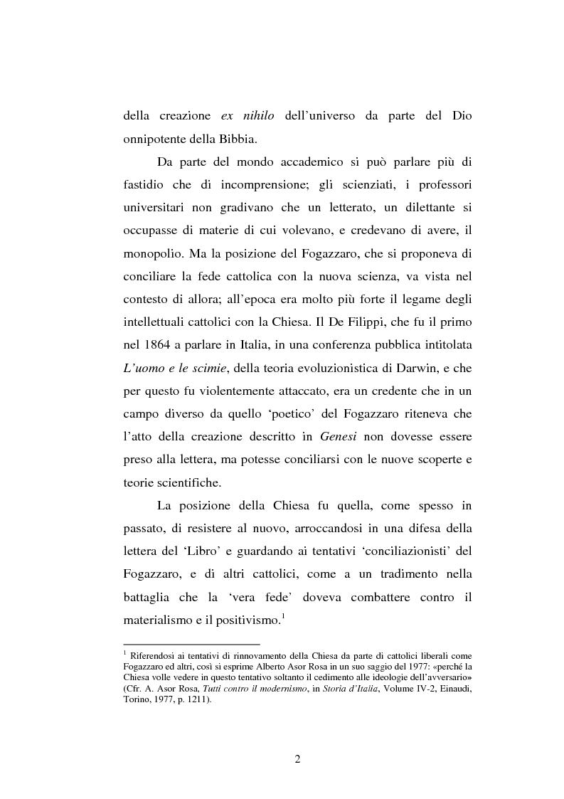 Anteprima della tesi: Ogni plebe m'insulta e rossa e nera - Fogazzaro, la sua arte, la scienza, la Chiesa, Pagina 3
